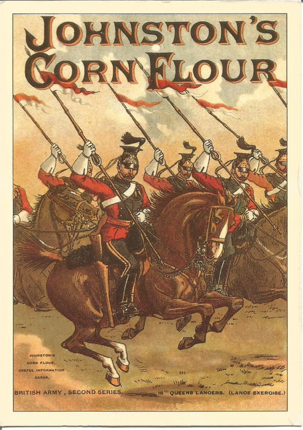 Lancers in full dress uniform riding right. Graphic material advertising Johnston's Cornflour.