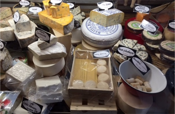 Cheeses on display in Hollanf